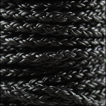 Bolo Braided 4mm Round NAT BLACK  - per inch