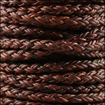 Bolo Braided 4mm Round NAT RED BROWN  - per inch