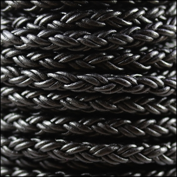 Bolo Braided 6mm Round NAT BLACK  - per inch