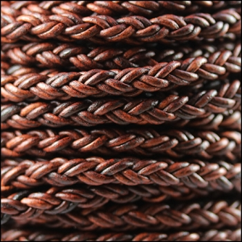 Bolo Braided 6mm Round NAT RED BROWN  - per inch