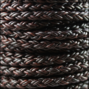 Bolo Braided 6mm Round NAT ANT BROWN  - per inch