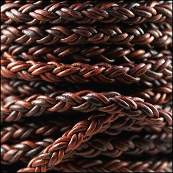 Bolo Braided 8mm Round NAT RED BROWN  - per inch