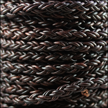 Bolo Braided 8mm Round NAT ANT BROWN  - per inch