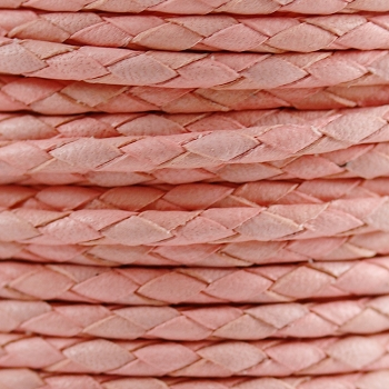 Round Mediterranean 3mm BRAIDED Leather CANDY PINK- per 10 METERS