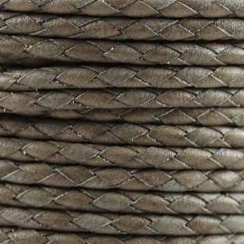 Round Mediterranean 3mm BRAIDED Leather CANDY GREY- per 10 METERS