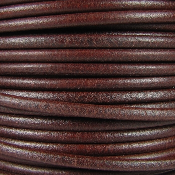 3mm Round Mediterranean Leather Cord - Brown