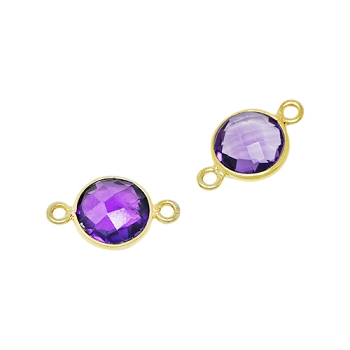 Faceted Connector Link Gold 9mm Round - Amethyst
