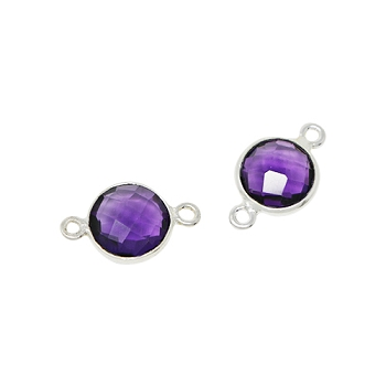 Faceted Connector Link Silver 9mm Round - Amethyst