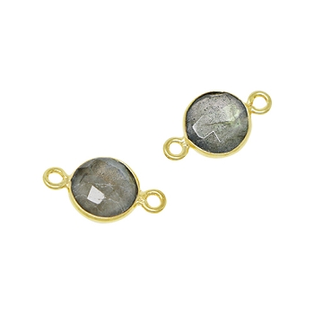 Faceted Connector Link Gold 9mm Round - Labradorite