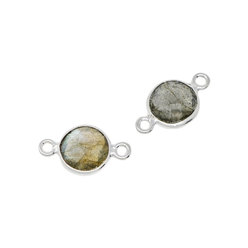 Faceted Connector Link Silver 9mm Round - Labradorite