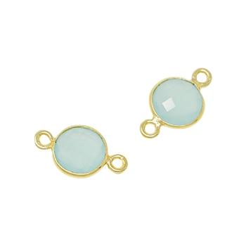 Faceted Connector Link Gold 9mm Round - Aqua Chalecedony