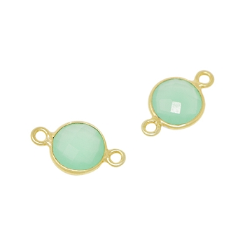 Faceted Connector Link Gold 9mm Round - Chrysoprase