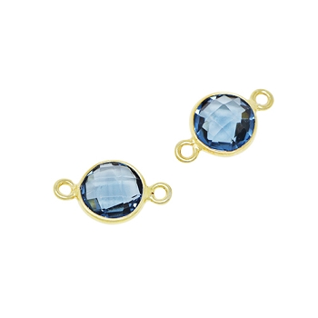 Faceted Connector Link Gold 9mm Round - Blue Topaz