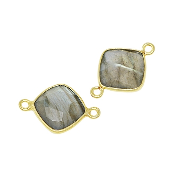 Faceted Connector Link Gold 12mm Square - Labradorite