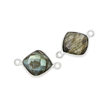 Faceted Connector Link Silver 12mm Square - Labradorite
