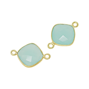 Faceted Connector Link Gold 12mm Square - Aqua Chalecedony