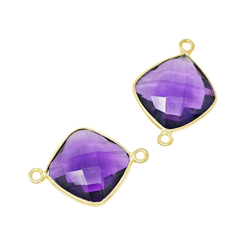 Faceted Connector Link Gold 16mm Square - Amethyst