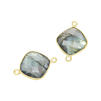 Faceted Connector Link Gold 16mm Square - Labradorite
