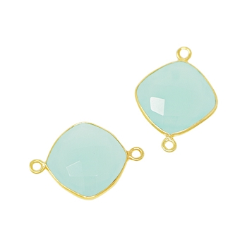 Faceted Connector Link Gold 16mm Square - Aqua Chalecedony