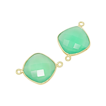 Faceted Connector Link Gold 16mm Square - Chrysoprase