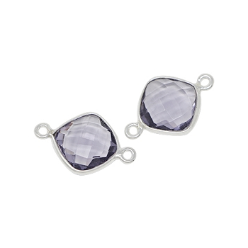 Faceted Connector Link Silver 12mm Square - Light Amethyst