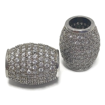 4mm round barrel CZ Pave Crystal ROUND - Silver
