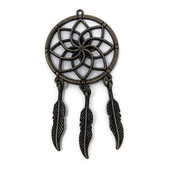Pewter Dreamcatcher Pendant - Antique Brass