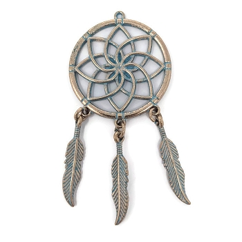 Pewter Dreamcatcher Pendant - Patina Turqiouse