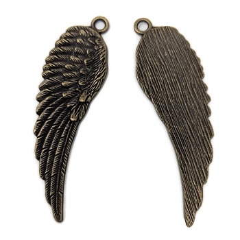 Pewter Feathered Wing Pendant - Antique Brass
