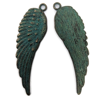 Pewter Feathered Wing Pendant - Patina Green