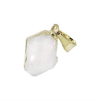 Herkimer Diamond Quartz Pendant - Gold