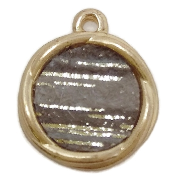 Round Disc Pendant Silver Grey Shades - Gold