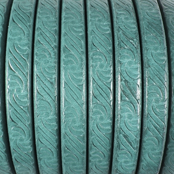 Regaliz Embossed 10mm Oval Leather Cord - Turquoise/Green