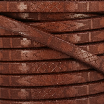 Regaliz South Western Deco Leather BROWN - per meter