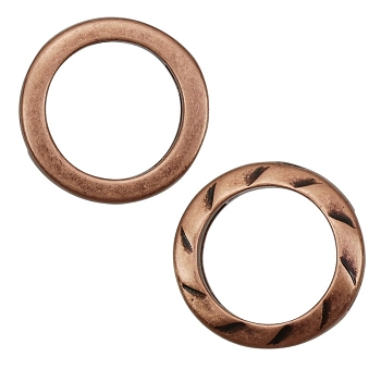 10mm RING TWIST Flat Leather Cord Slider ANTIQUE COPPER - per 10 pieces