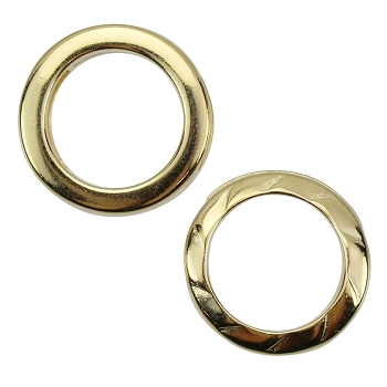 10mm RING TWIST Flat Leather Cord Slider GOLD PLATED - per 10 pieces