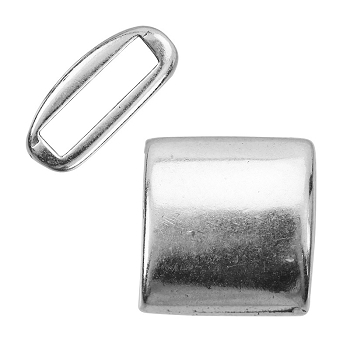 10mm ROUNDED SQUARE Flat Leather Cord Slider ANTIQUE SILVER - per 10 pieces