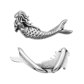 10mm MERMAID Flat Leather Cord Slider ANTIQUE SILVER