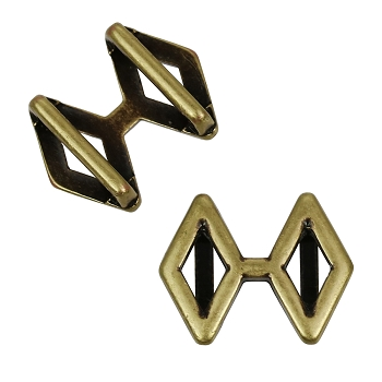 10mm DOUBLE DIAMOND Flat Leather Slider ANTIQUE BRASS