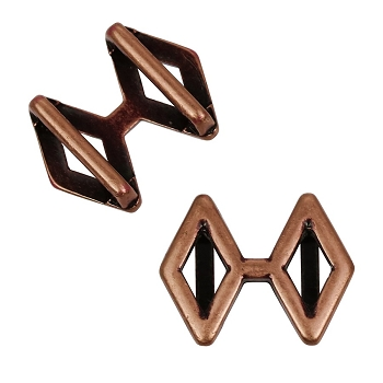 10mm DOUBLE DIAMOND Flat Leather Slider ANTIQUE COPPER