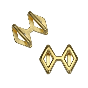 10mm DOUBLE DIAMOND Flat Leather Slider SHINY GOLD - per 10 pieces