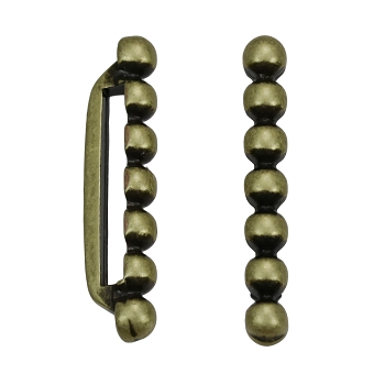 20mm 7 Dot Flat Bar Slider ANT BRASS