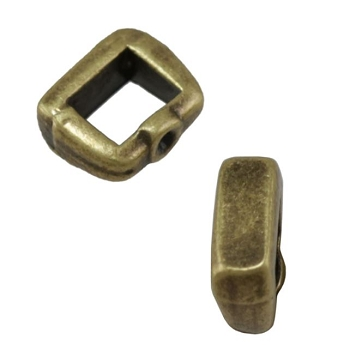 3mm Crimp Bar Flat Leather Cord slider Ant Brass