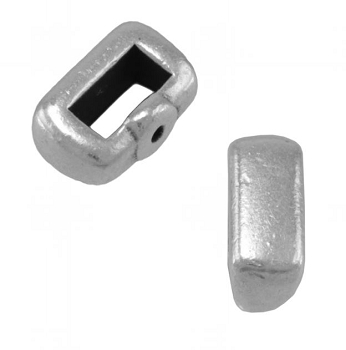 5mm Crimp Bar Flat Leather Cord slider Ant Silver
