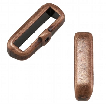 10mm Crimp Bar Flat Leather Cord slider Ant Copper - per 10 pieces