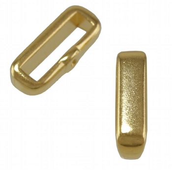 10mm Crimp Bar Flat Leather Cord slider Shiny Gold - per 10 pieces