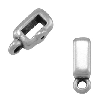 10mm Crimp Bar Flat Leather Cord WITH RING slider Ant Silver