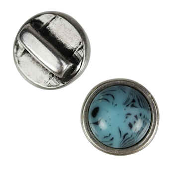 5mm Turquoise Resin Flat Leather Cord Slider ANTIQUE SILVER