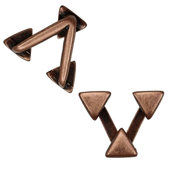 10mm TRIPLE TRIANGLES Flat Leather Cord Slider ANTIQUE COPPER - per 10 pieces