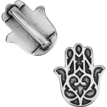 10mm Flat HAMSA HAND Leather Cord Slider - Antique Silver